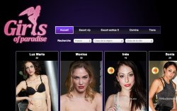 The homepage for the fake escort agency 'Gilrs of Paradise.'